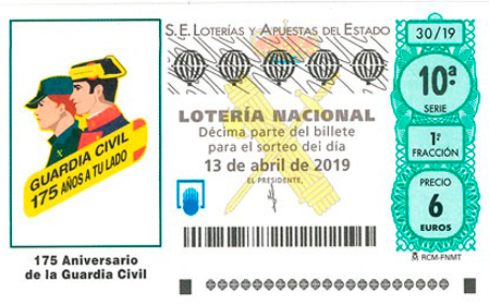 Décimo conmemorativo de Lotería Nacional - 13 de abril de 2019