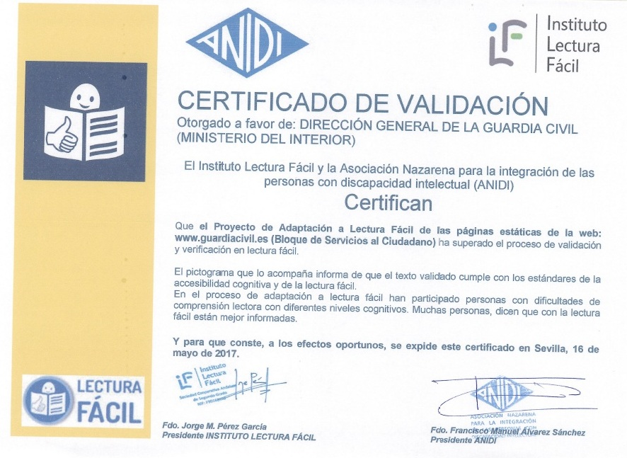 certificado de validacion web guardia civil
