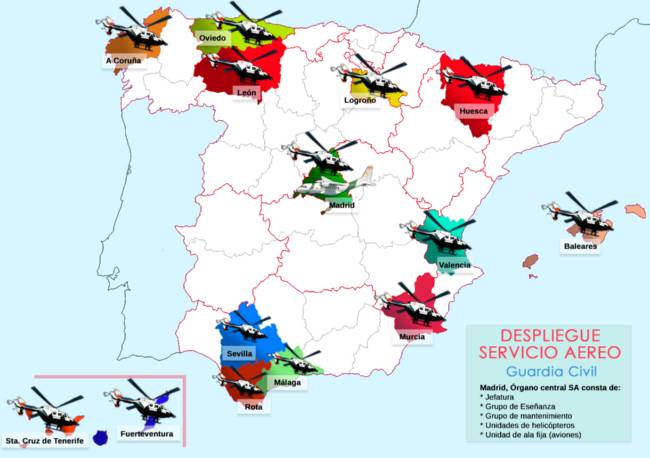 Mapa despliegue Servicio Aereo de la Guardia Civil