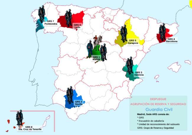 Mapa despliegue territorial Agrupación de Reserva y Seguridad