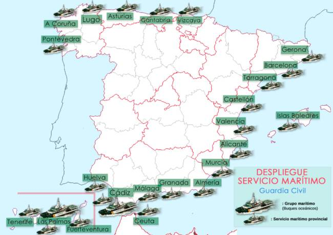 Mapa despliegue Servicio Marítimo de la Guardia Civil