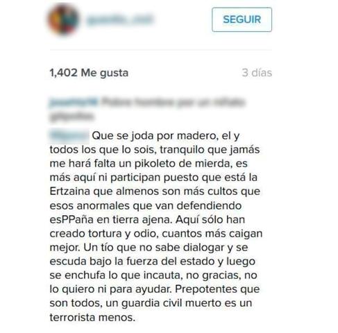 La Guardia Civil detiene a una persona por injurias a través de Internet sobre el reciente fallecimiento de un agente en Barbastro