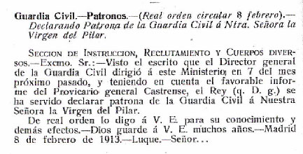 Declararión patrona Guardia Civil Virgen del Pilar