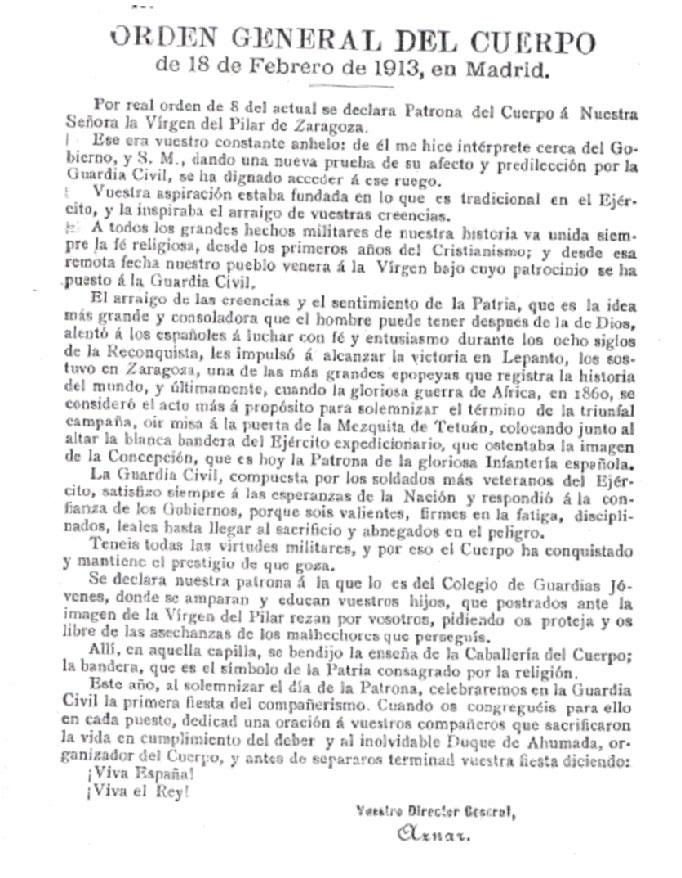 Declararión patrona Guardia Civil Virgen del Pilar